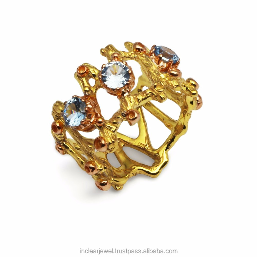 Gold Tone Fine Art 925 Silver and Blue CZ Ring RS0287