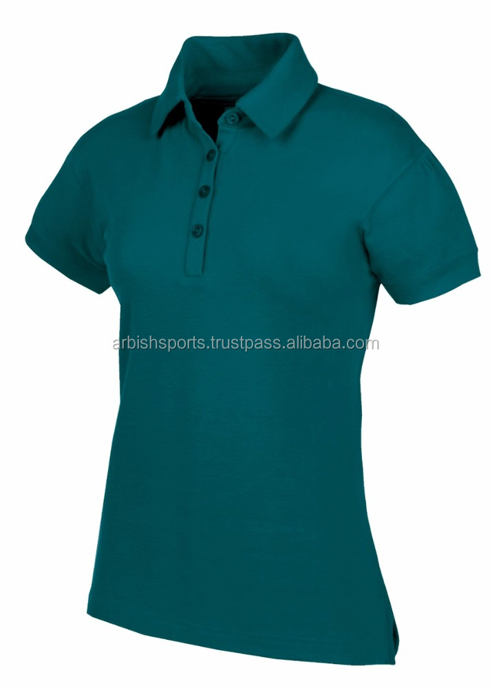 100% Cotton Green Casual Polo Shirts for Women