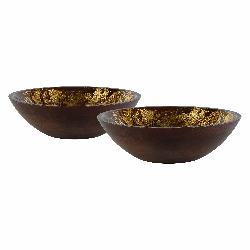 Wooden Bowl Set with Gold Foil, Enamel & Walnut Finish (Set of 2 Bowls)
