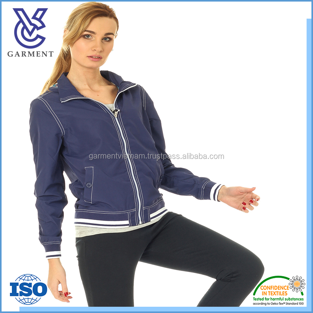 Solid color comfortable female sports varsity jacket