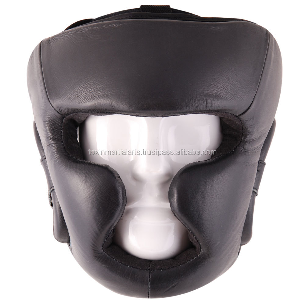 Cowhide Leather Boxing MMA Protector Headgear Fighting Head Guard