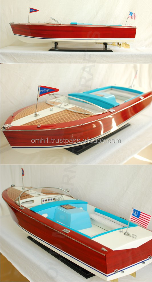Chris Craft Holiday Painted Ready for RC - High quality handmade wooden speed boat model