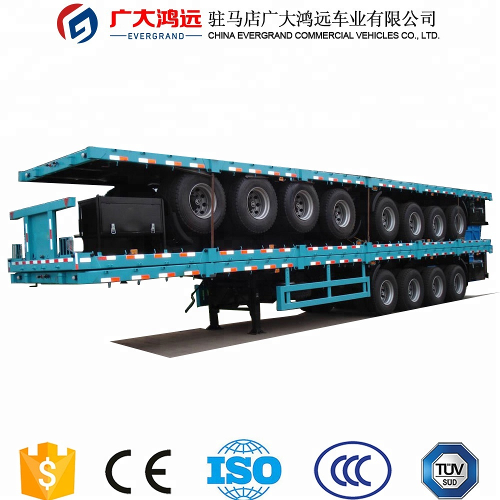 evergrand 60t flatbed semi trailer container transport trailer for truck