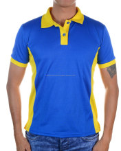 Drifit Mesh Polo T Shirt Royal Blue with Yellow Contrast Collar and Sleeve Rib for Unisex, Men and Women Fitting