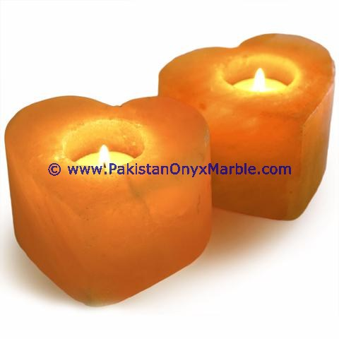 LUXURIOUS DECORATIVE NATURAL HIMALAYAN SALT CANDLE HOLDER CRAFTED HEART