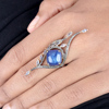 925 Silver Diamond Gemstone Peacock Wing Beautiful Design Full Finger Ring