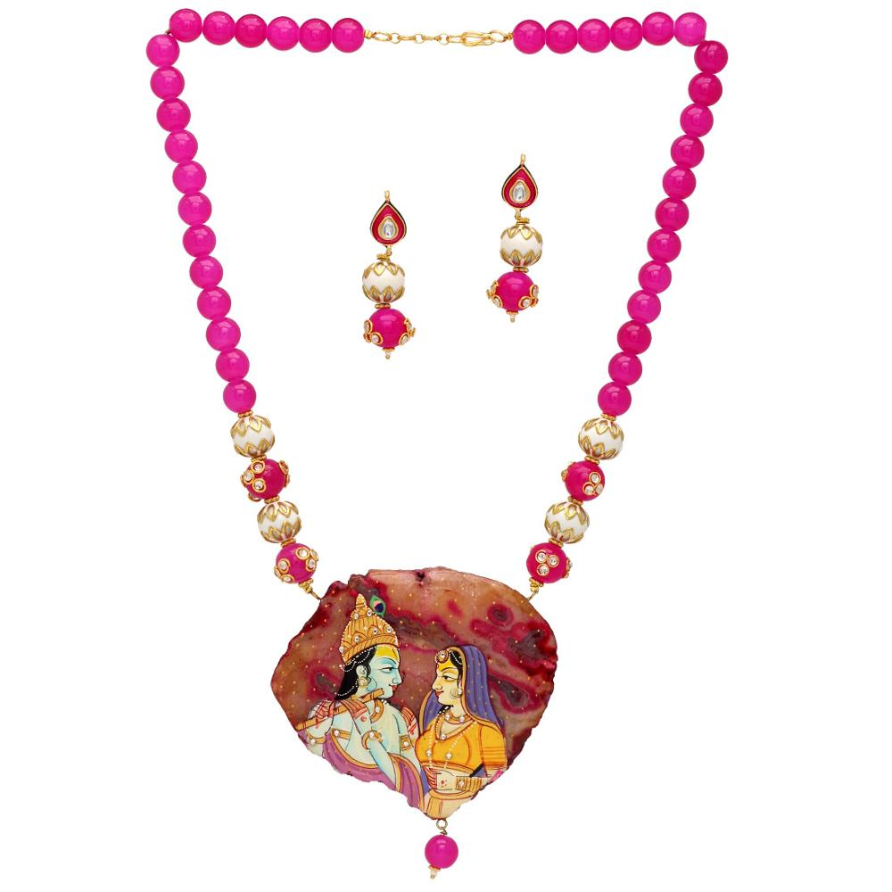 Jaipur Mart Gold Plated Rani Color Colored Glass Stone, Color Beads, Pearl Necklaces With Earrings