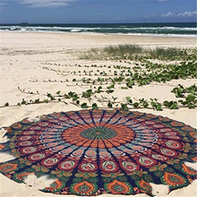 New Round Mandala Tapestry With Towel Fabric Backside Beach Round Yoga Mat Beach Throw Towel Round mandala Bath Towel ,