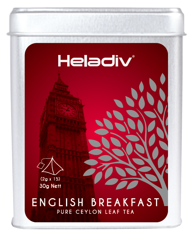 Heladiv ENGLISH BREAKFAST flavoured Ceylon Black tea 2g * 15 Pyramid Tea bags in Tin ISO22000
