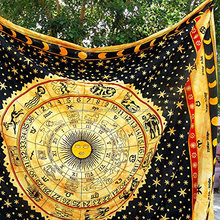 Indian Yellow Zodiac 100%Cotton Material and Printed Pattern Bohemian Bedspread Tapestry