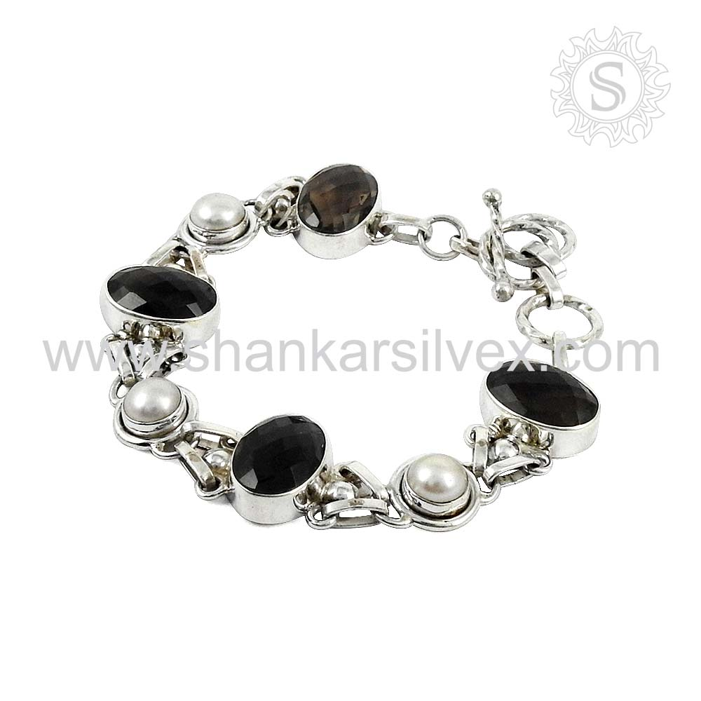 Luxurious smoky quartz, pearl gemstone handmade silver bracelet 925 sterling silver jewellery wholesaler india