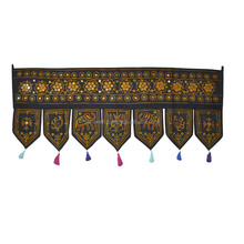 Black Traditional Handmade Ethnic Embroidered Indian Cotton Door Hangings/Toran/Tapestries Wholesale
