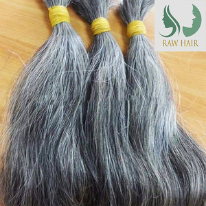 100% Vietnamese human hair extensions type double drawn grey weft and bulk with natural grey, silver color