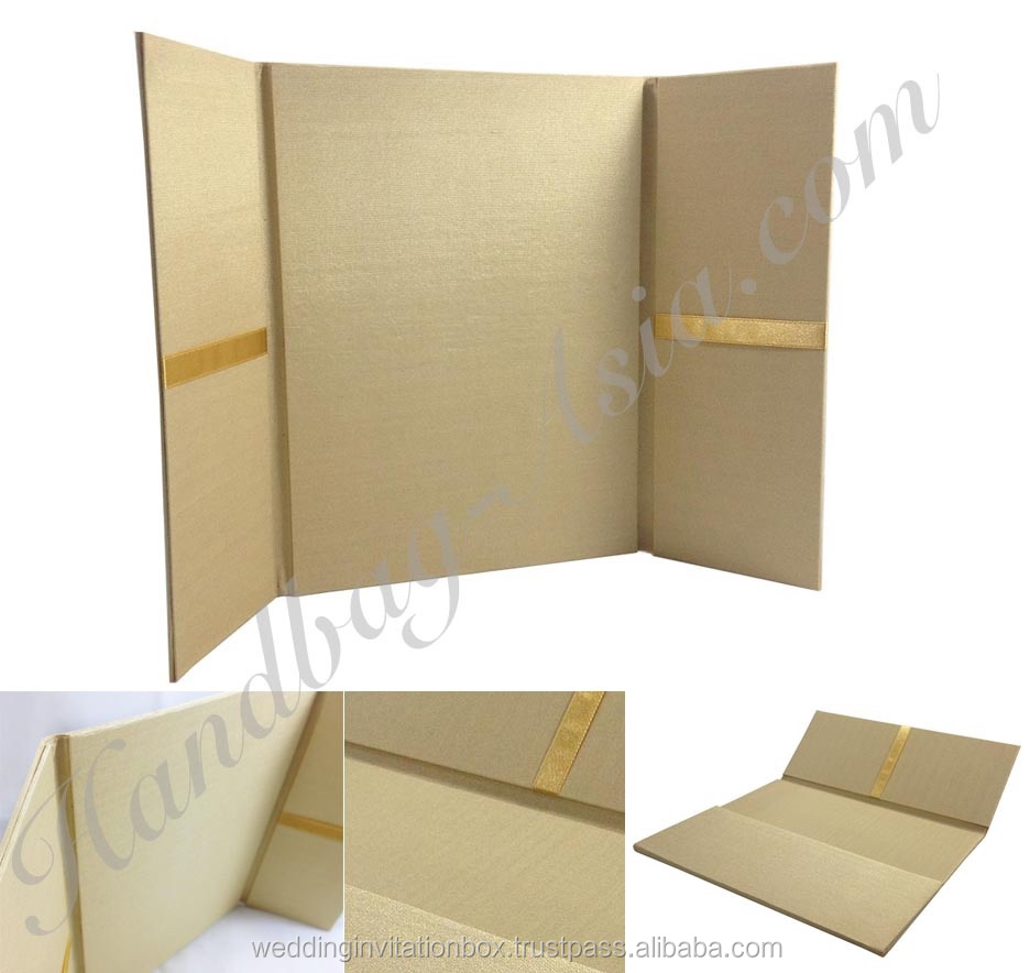 Plain gold color silk folio wedding invitations