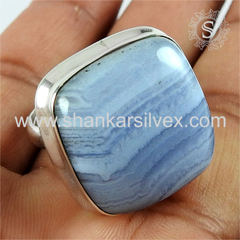Fantastic silver ring blue lace gemstone 925 sterling silver jewelry exporters