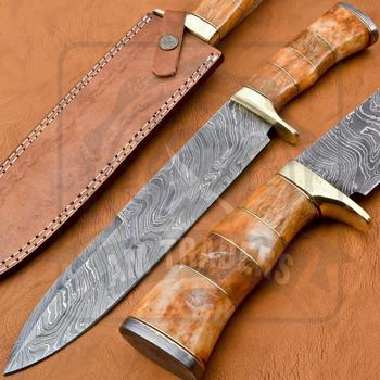 DT-18-SK663 Damascus Steel Bowie Style Knife