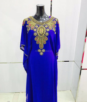 Fancy Gold Beaded Royal Blue Dubai Kaftans Abaya Jalabiya Farasha Evening Dress Arabic Women