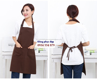 Summer beautiful cheap quality pale 90% cotton aprons customized logo adjustable aprons for the restaurant by HATHANH UNIFORM