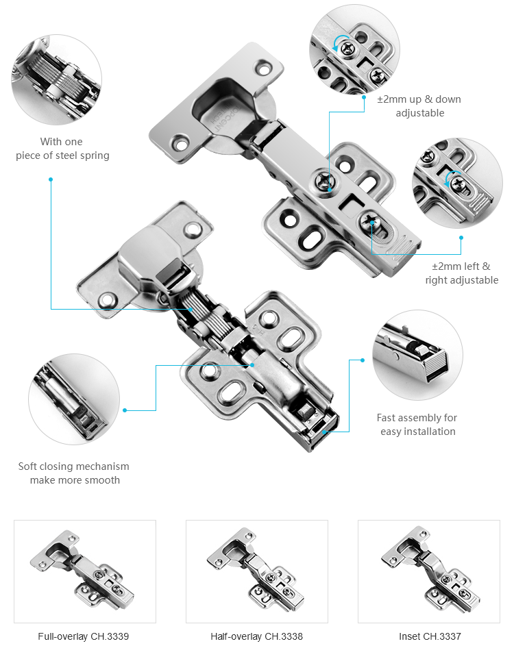 TOPCENT 35 mm cup furniture hardware auto soft closing concealed hydraulic cabinet hinge