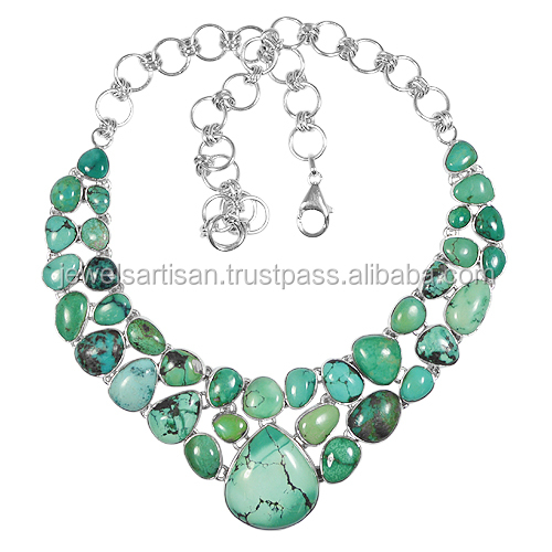 Natural Tibetan Turquoise Gemstone 925 Sterling Silver Necklace
