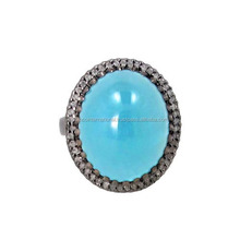 14k Gold Pave Diamond Aquamarine Gemstone Ring