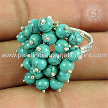 Rondelle beads 925 silver jewelry turquoise ring bridal wedding silver rings 925 sterling silver jewelry manufacturer