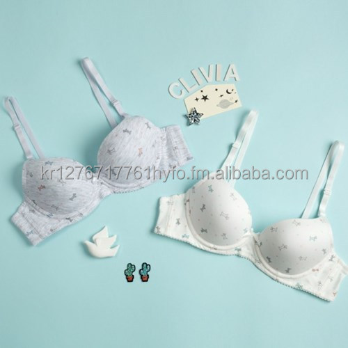 Soft Molded Cotton Spandex Bra (Wire or No-wire) and Brief Set for Girls and Young Ladies