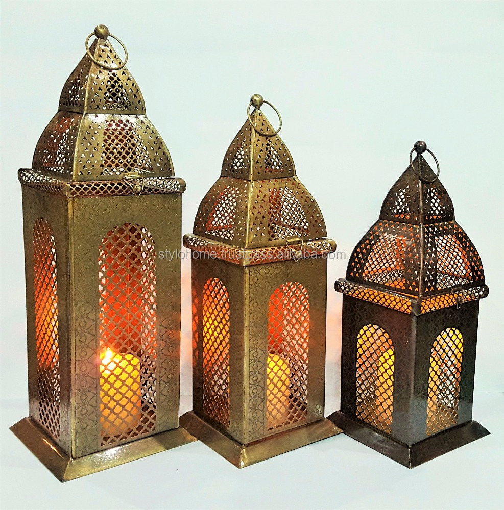 brass antique Moroccan lantern with candle pillar