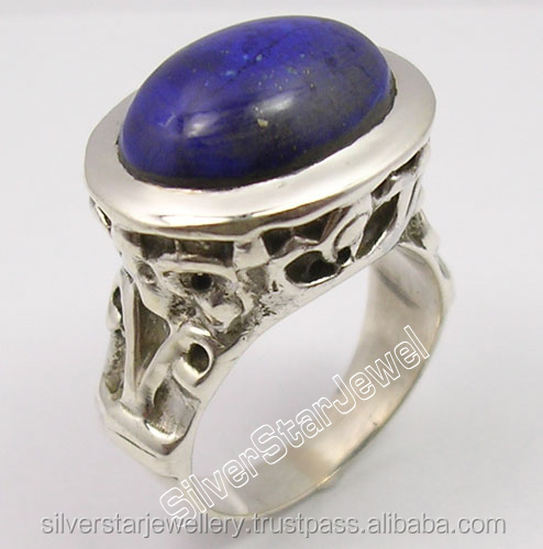 925 SOLID Silver OVAL AFGHAN LAPIS LAZULI Gemstone ANCIENT STYLE Ring Any Size OXIDIZED 2017 Gem Punjabi Jewellery Stores