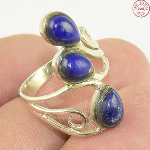 Trendy three stone lapis sterling silver ring manufacturing indian silver jewelry wholesale 925 silver jewelry ring