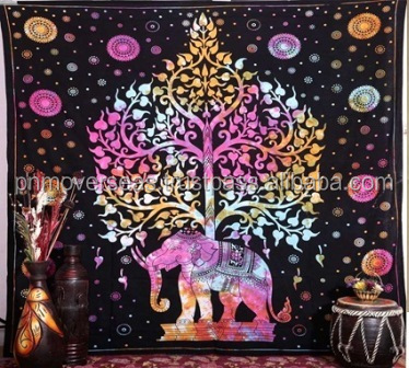 Mandala Indian Elephant Tapestry