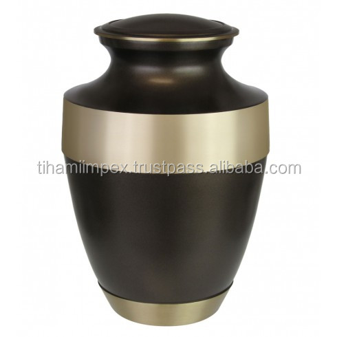Brass Funeral Cremation Urn with Two Tone Finish