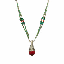 Oxidized Tone Metal Coral Stone Nepali Necklace Women Fashion Tibetan Jewelry