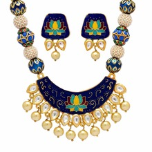 Blue Color Imitation Pearl & Kundan Work Traditional Necklace With Earrings