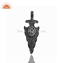 925 Sterling Silver Pave DIamond Pendant Arrow Head Charm GIrls Pendant Supplier Jewelry