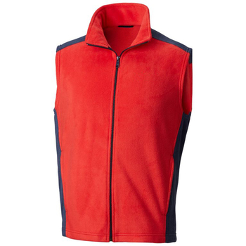 Red Fleece Sleeveless Zipper Up Jackets Vest With Navy Panels for Men 2019