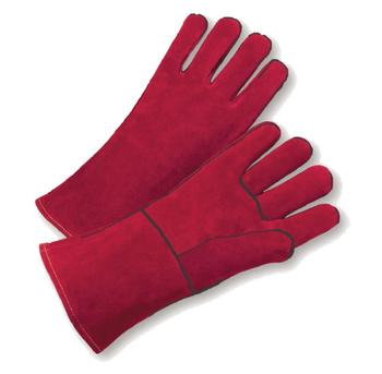 Red color Welders Cow Split Leather Gloves Factory Gardening Welding Heat Resistant Gloves