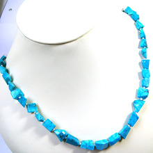 Blue Turquoise Faceted Nugget Bead Necklace