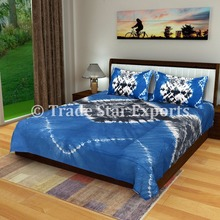 Tie dye fabric shibori bedspread with pillow cover Indian cotton bed sheet bedding set