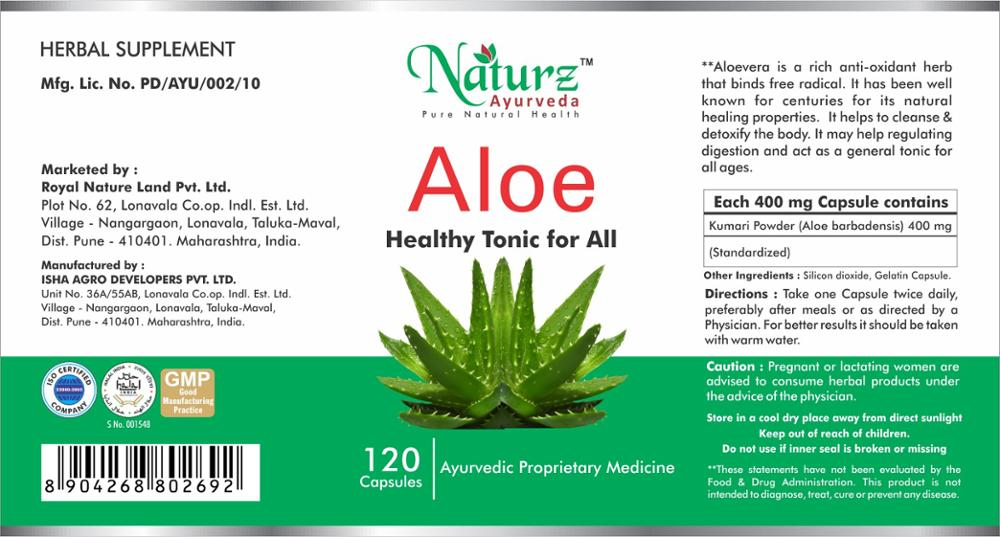Naturz Ayurveda Pure Aloe vera capsule / Aloe Aloe barbadensis pure powder in capsule for digestion 120 capsules 400mg