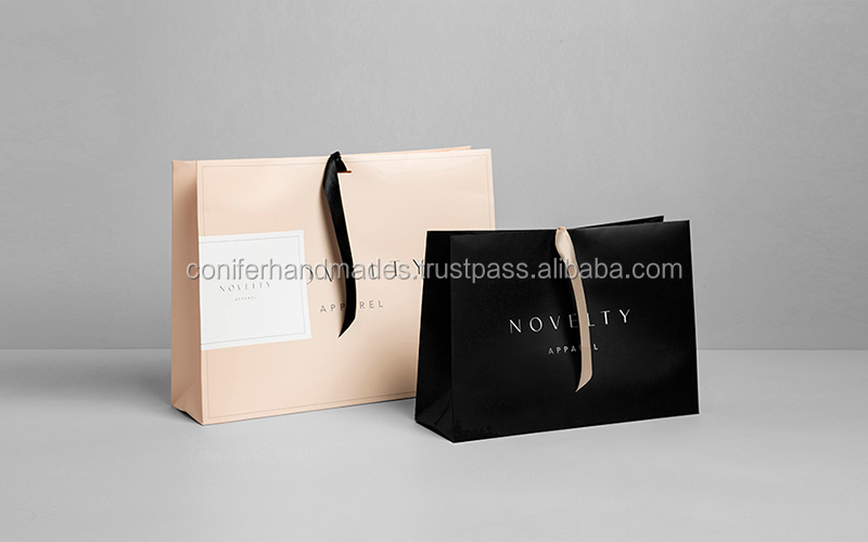 gloss or matter laminated logo printed paper bags made from recycled paper in your specified sizes, ideal for online stores