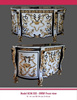 Italian White Marble Inlaid Furniture with Intricate Top Design Commode