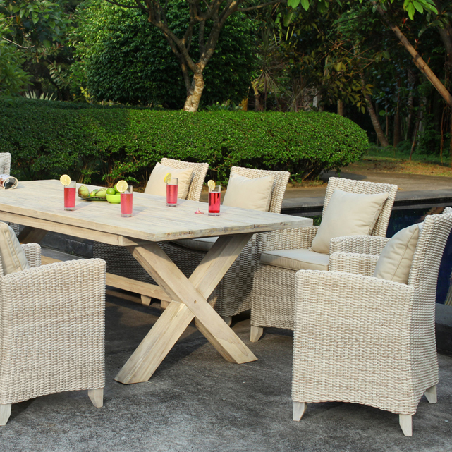 White Wash Finish Teak Dining Furniture Collection