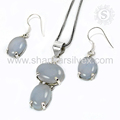 Glowing chalcedony gemstone 925 sterling silver jewelry set indian wholesale supplier