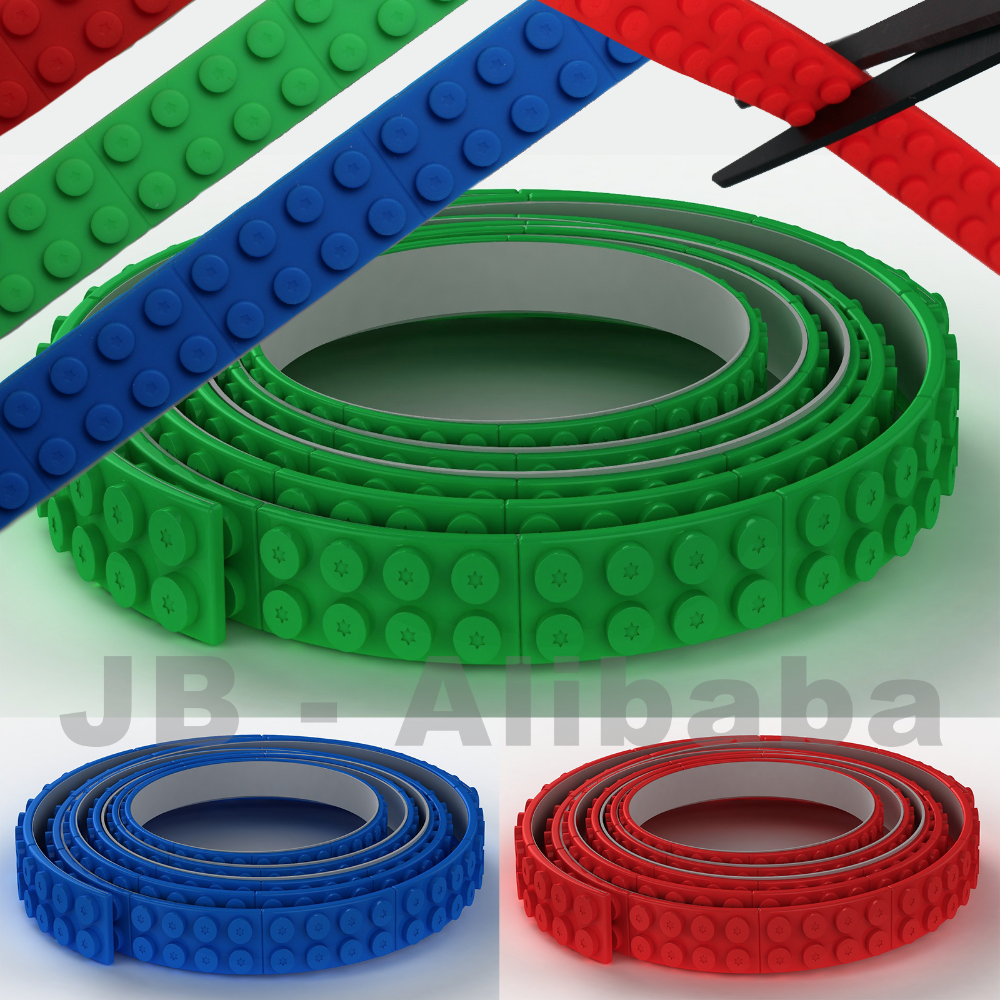 Silicone Block Adhesive tape Continuous 1 Metre Rolls Compatible With Lego 1M 2 Dot Wide Brick Tape
