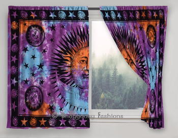 Indian Sun & Moon Mandala Window Curtains Handmade Drape Balcony Room Decor Curtain Boho 2 Panel