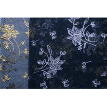 Net Lace Silver Or Gold Flowers Printed Fabric