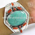 Magnificent design silver bangle coral, turquoise 925 sterling silver gemstone jewellery wholesale