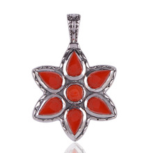 Beautiful Design Coral Gemstone 925 Sterling Silver Pendant