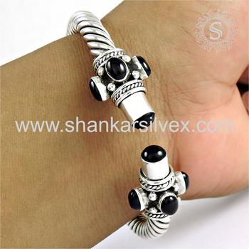 Antique design silver bangle black onyx gemstone 925 sterling silver jewelry wholesaler jaipur